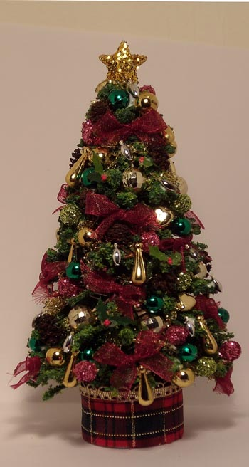 Fully Loaded Burgundy Bow and Bauble Christmas Tree