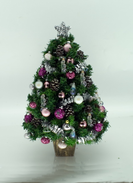 Dollshouse Miniature Luxury 5.5 Inch Pink Christmas Tree