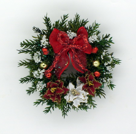 Luxury Red and White Poinsettia Wreath