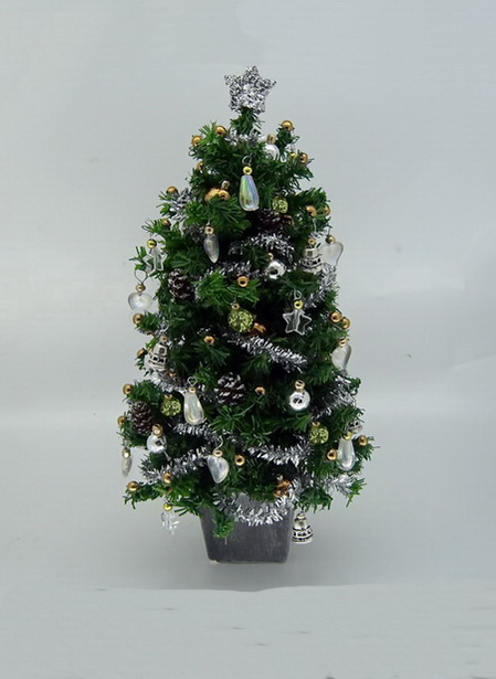 "Dollshouse Miniature Luxury 6.5"" Silver Dream Christmas Tree"