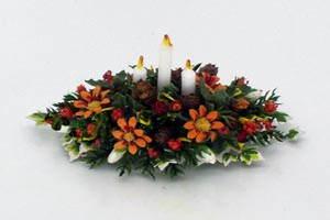 Christmas Chrysanthemum and Candle Centerpiece