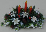 Lilies, Holly and Pinecone Candle Display
