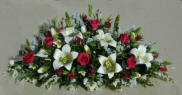 Scarlet Roses, Lilies and Ivy Mantle Display