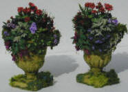 Geraniums in Stone Urns