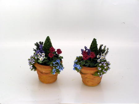 Pair of Red Geraniums, Conifer and Rockery in Terracotta Tubs