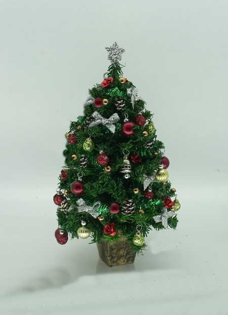 Dollshouse Miniature Red Chartreuse & Silver Bell Christmas Tree